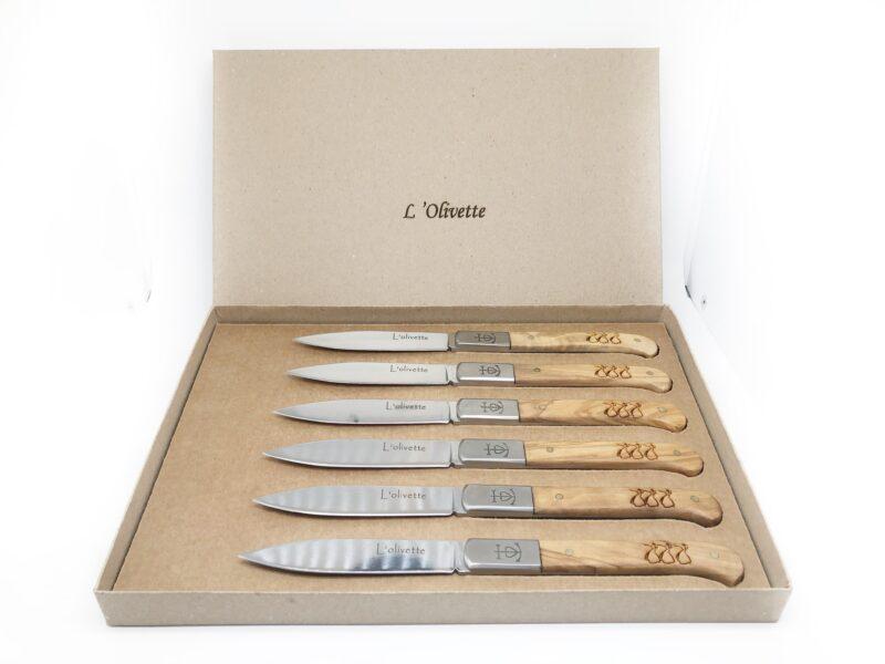 Coffret de table 6 Couteaux Olivette - Bois d'Olivier 100% Français